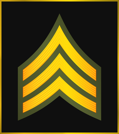 Military Ranks and Insignia. Stripes and Chevrons of Army. Sergeant Çizim