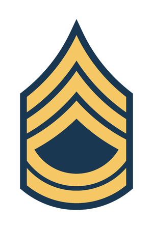 Military Ranks and Insignia. Stripes and Chevrons of Army. Sergeant First Class Çizim
