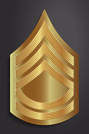 軍のランクおよび記章。ストライプと軍の山形。一等軍曹