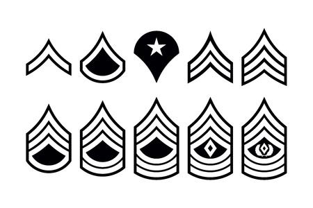 Militarne tytuły Paski i szewrony. Wektor zestaw insygnia armii. Sztab Sierżanta Ilustracje wektorowe