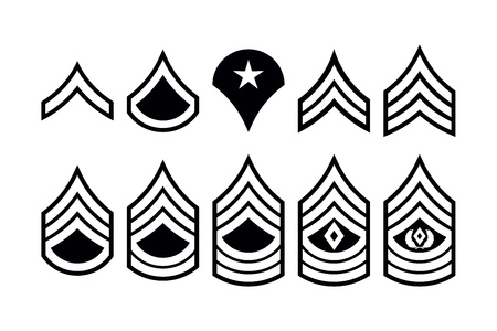 Military Ranks Stripes and Chevrons. Vector Set Army Insignia. Sergeants Staff Çizim