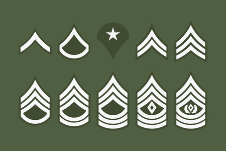 Classifiche militari bande e ghevi. Set vettoriale Insegna dell'esercito. Personale del sergente