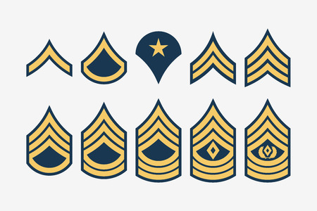 Military Ranks Stripes and Chevrons. Vector Set Army Insignia. Sergeant's Staff Vettoriali