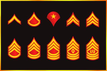 Military Ranks Stripes and Chevrons. Vector Set Army Insignia. Sergeants Staff Çizim