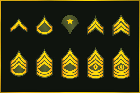 Military Ranks Stripes and Chevrons. Vector Set Army Insignia. Sergeant's Staff Çizim