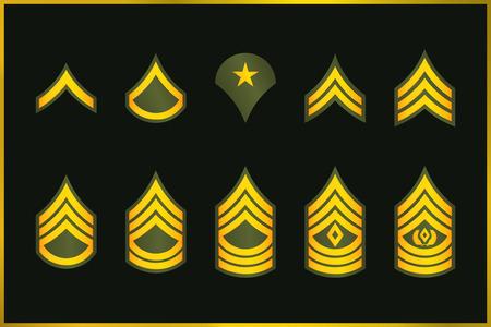 Rangs militaires Rayures et Chevrons. Vector Set Insigne de l'armée. Le sergent Banque d'images - 87271330