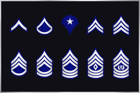 Military Ranks Stripes and Chevrons. Vector Set Army Insignia. Sergeants Staff Illustration