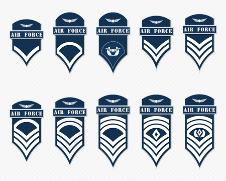 corps: Military Ranks Stripes and Chevrons. Vector Set Army Insignia. Sergeants Staff Illustration