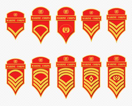 군사 순위 줄무늬와 갈매기. 벡터 육군 휘장을 설정합니다. 하사관
