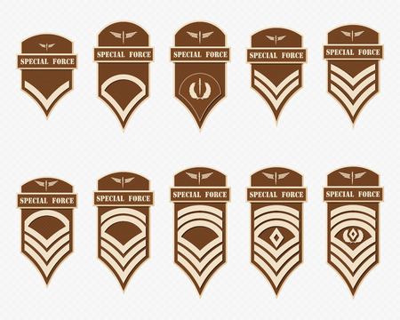 Military Ranks Stripes and Chevrons. Vector Set Army Insignia. Sergeant's Staff Vectores