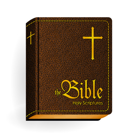 Holy Bible. Vector Vintage Leather Brown Book. Isolated on White
