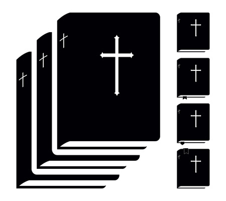 Black Holy Bible. Book Pictogram. Set Vector Icons Isolated on White