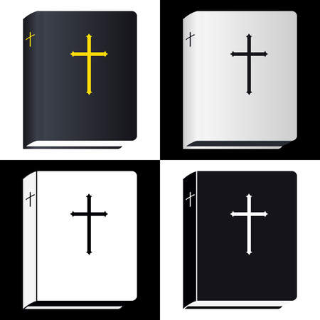writ: Holy Bible. Book Pictogram. Set Vector Icons Isolated Illustration