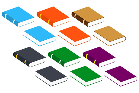 Book Icons. Set Vector Isolated Pictogram of Different Colors for Your Design Illustration