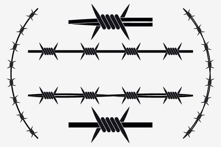 Bezszwowe sylwetka wektor drut kolczasty. Rodzaje i różne warianty Ilustracje wektorowe