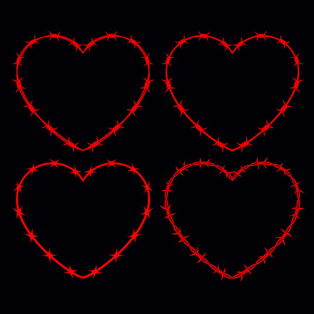 Four Shapes of Heart. Vector Silhouette of Barbed Wire. Isolated