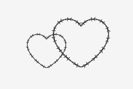 Two Shapes of Heart. Vector Silhouette of Barbed Wire. Isolated Vectores