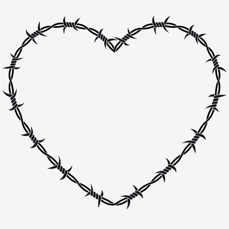 Shape of Heart. Vector Silhouette of Barbed Wire. Isolated