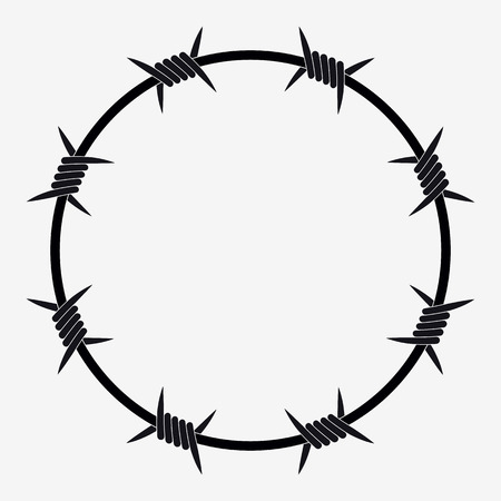 Barbed Wire of Circle Shape. Vector Silhouette Çizim