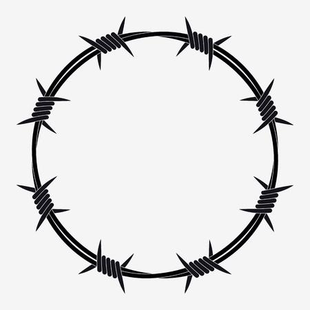 Drut kolczasty w kształcie koła. Sylwetka wektor Ilustracje wektorowe