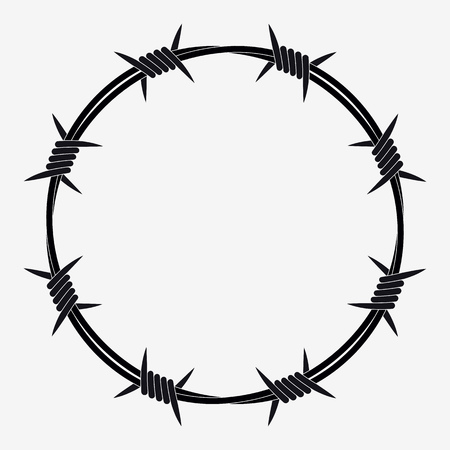 Barbed Wire of Circle Shape. Vector Silhouette Vettoriali