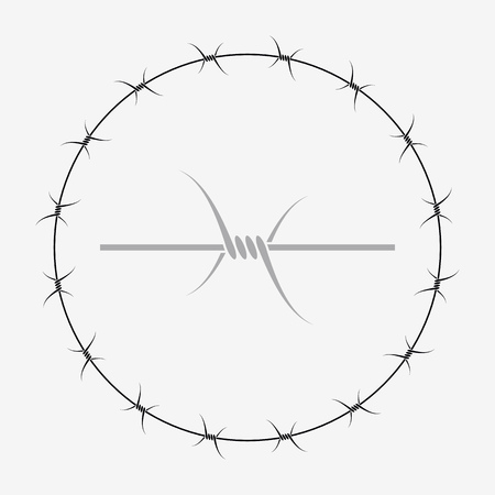 Barbed Wire of Circle Shape. Vector Silhouette 向量圖像