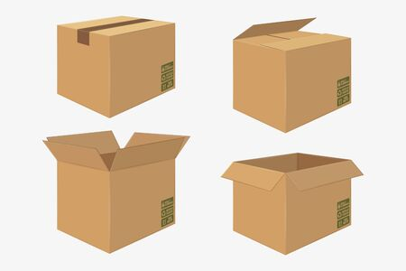 Set of Four Cardboard Boxes; Open and Closed Box; Side View Package Design Isolated on White illustration.