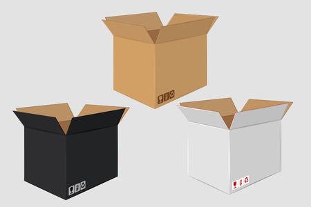 White, brown and black cardboard open box.