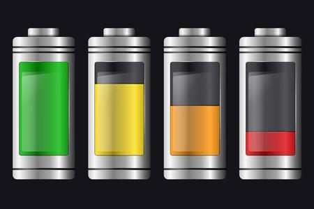 Métal avec des piles de verre. Ensemble de différents types de charge. Isolé sur fond noir. Élément de vecteur pour votre créativité