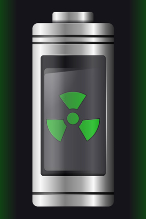 Metal with Glass Battery. Green Nuclear Symbol. Isolated on Black Background. Vector Element for Your Creativity