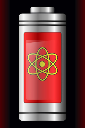 Red Metal with Glass Battery. Atom Symbol. Isolated on Black Background. Vector Element for Your Creativity