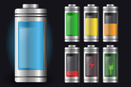 Metal with Glass Batteries. Set of Various Types of Charge. Isolated on Black Background. Vector Element for Your Creativity Vettoriali