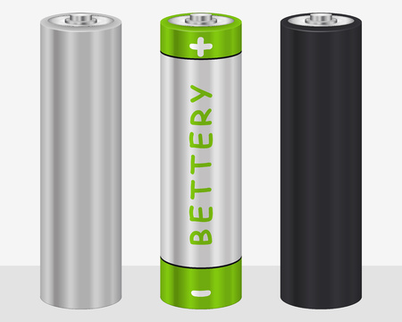 Realistic AA Type Battery. Vector Set Illustration isolated on White