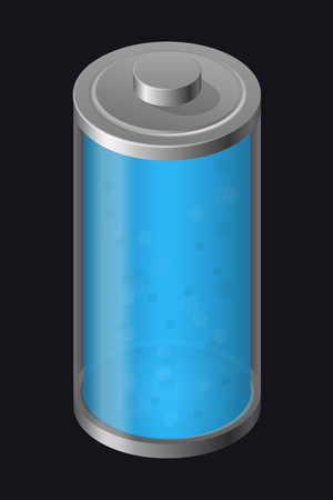 Transparent Glass Battery. Light Blue Color. Isolated on Black Background. Vector Element for Your Creativity