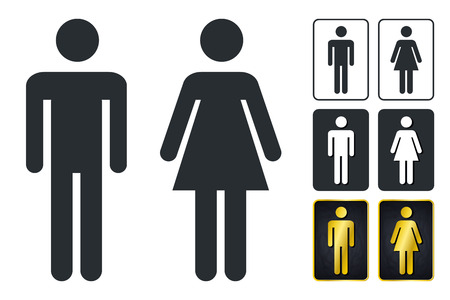 WC Sign for Restroom. Toilet Door Plate icons. Men and Women Vector Symbols. Isolated Zdjęcie Seryjne - 94134707