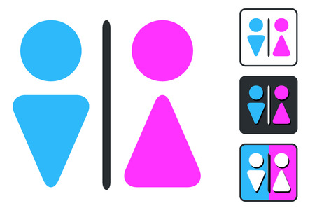 WC Sign for Restroom. Toilet Door Plate icons. Men and Women Vector Symbols. Isolated Zdjęcie Seryjne - 94134711