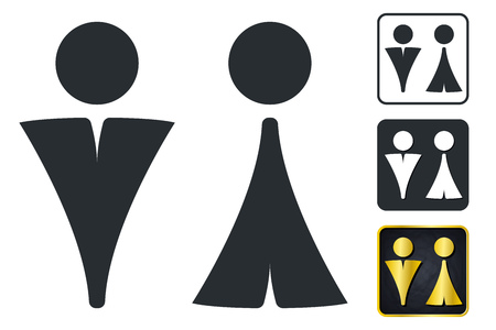 WC Sign for Restroom. Toilet Door Plate icons. Men and Women Vector Symbols. Isolated Zdjęcie Seryjne - 94134708