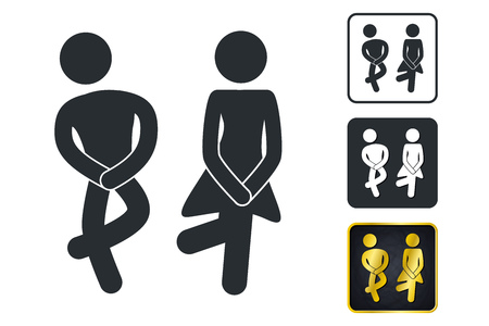 WC Sign for Restroom. Toilet Door Plate icons. Men and Women Vector Symbols. Isolated