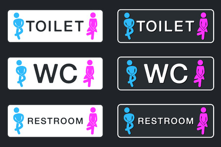 WC Sign for Restroom. Toilet Door Plate icons. Men and Women Vector Symbols. Isolated Zdjęcie Seryjne - 93980102