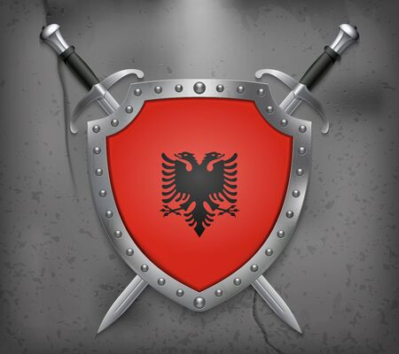 Flag of Albania. The Shield with National Flag. Two Crossed Swords. Vector Medieval Background 矢量图像