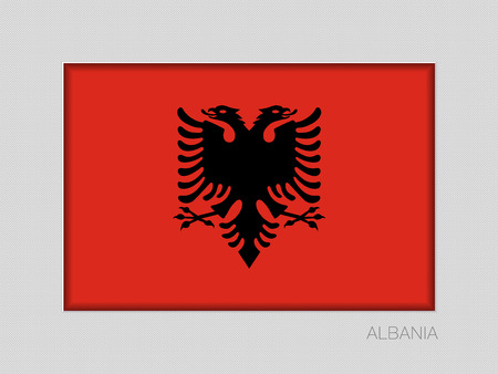 Flag of Albania. National Ensign Aspect Ratio 2 to 3 on Gray Cardboard