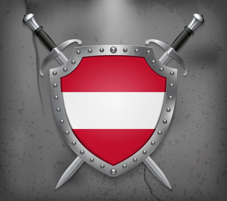 Flag of Austria. The Shield with National Flag. Two Crossed Swords. Vector Medieval Background Vectores