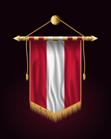 Flag of Austria. Festive Vertical Banner. Wall Hangings with Gold Tassel Fringing Ilustração