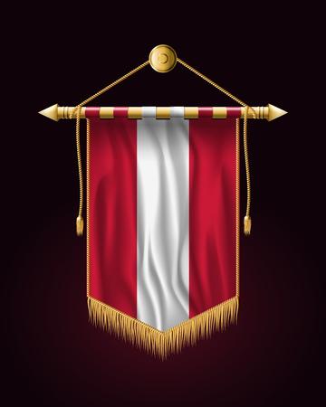 Flag of Austria. Festive Vertical Banner. Wall Hangings with Gold Tassel Fringing Illustration