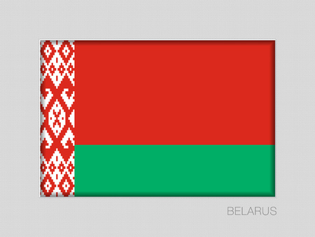 Flag of Belarus. National Ensign Aspect Ratio 2 to 3 on Gray Cardboard