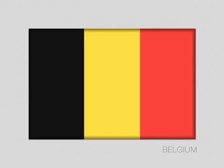 Flag of Belgium. National Ensign Aspect Ratio 2 to 3 on Gray Cardboard Çizim