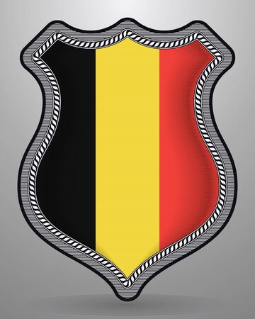 Flag of Belgium. Vector Badge and Icon with Central Glossy National Symbol