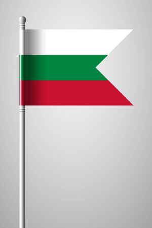Flag of Bulgaria. National Flag on Flagpole. Isolated Illustration on Gray Background