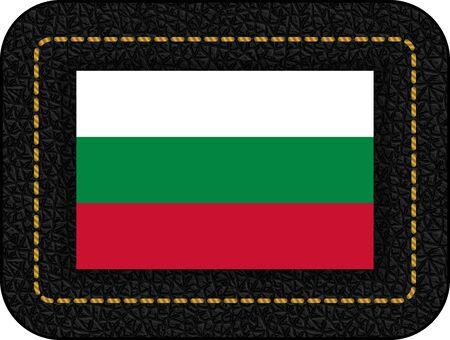 Flag of Bulgaria. Vector Icon on Black Leather Backdrop. Illustration