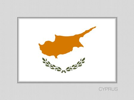 Flag of Cyprus. National Ensign Aspect Ratio 2 to 3 on Gray Cardboard